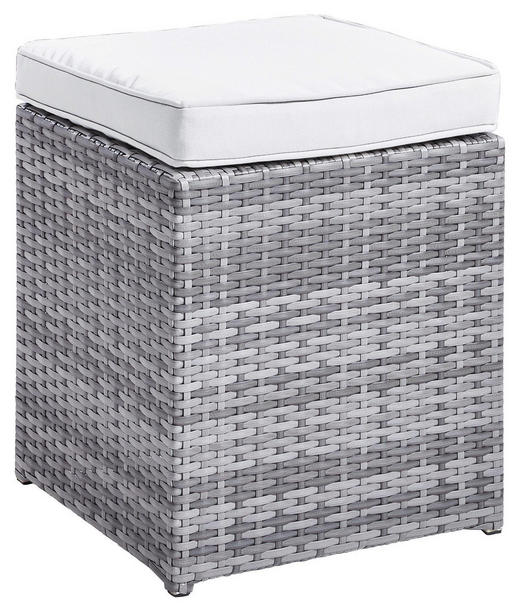 LOUNGEHOCKER Kunststoffgeflecht Aluminium - Hellgrau/Grau, Design, Kunststoff/Textil (40/43/40cm) - Ambia Garden