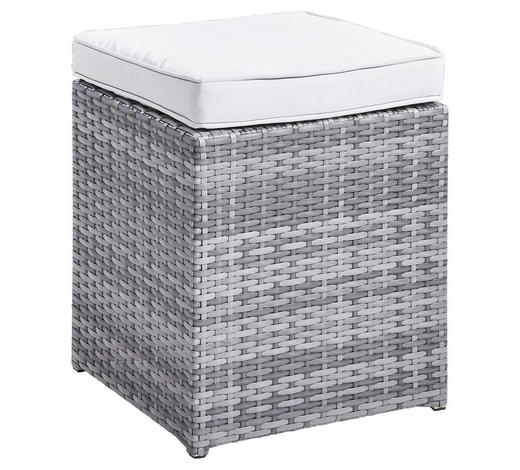LOUNGEHOCKER Grau, Hellgrau Kunststoffgeflecht Aluminium  - Hellgrau/Grau, Design, Kunststoff/Textil (40/43/40cm) - Ambia Garden