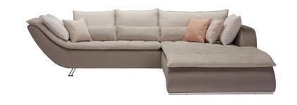 WOHNLANDSCHAFT in Beige, Taupe Textil - Taupe/Sandfarben, Design, Textil/Metall (300/220cm) - Hom`in