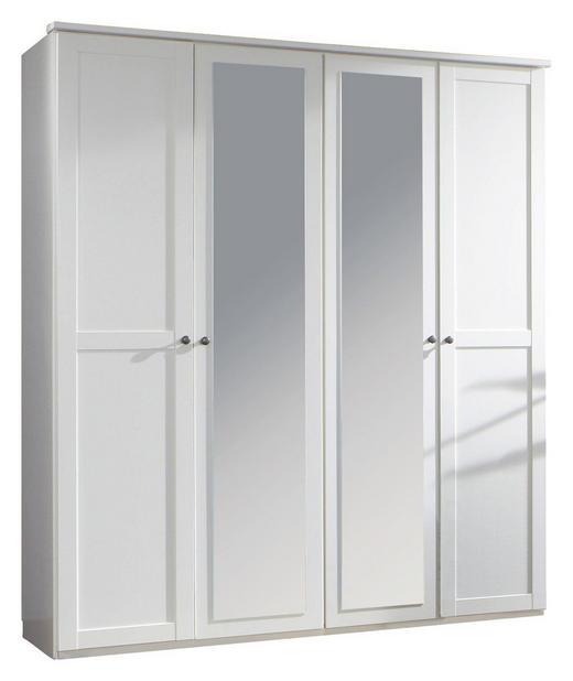 DREHTÜRENSCHRANK 4  -türig Weiß - Weiß/Braun, LIFESTYLE, Glas/Holzwerkstoff (180/210/58cm) - Carryhome