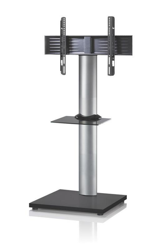 TV-RACK Glas, Metall Schwarz, Silberfarben - Silberfarben/Schwarz, KONVENTIONELL, Glas/Metall (68/130/54cm)