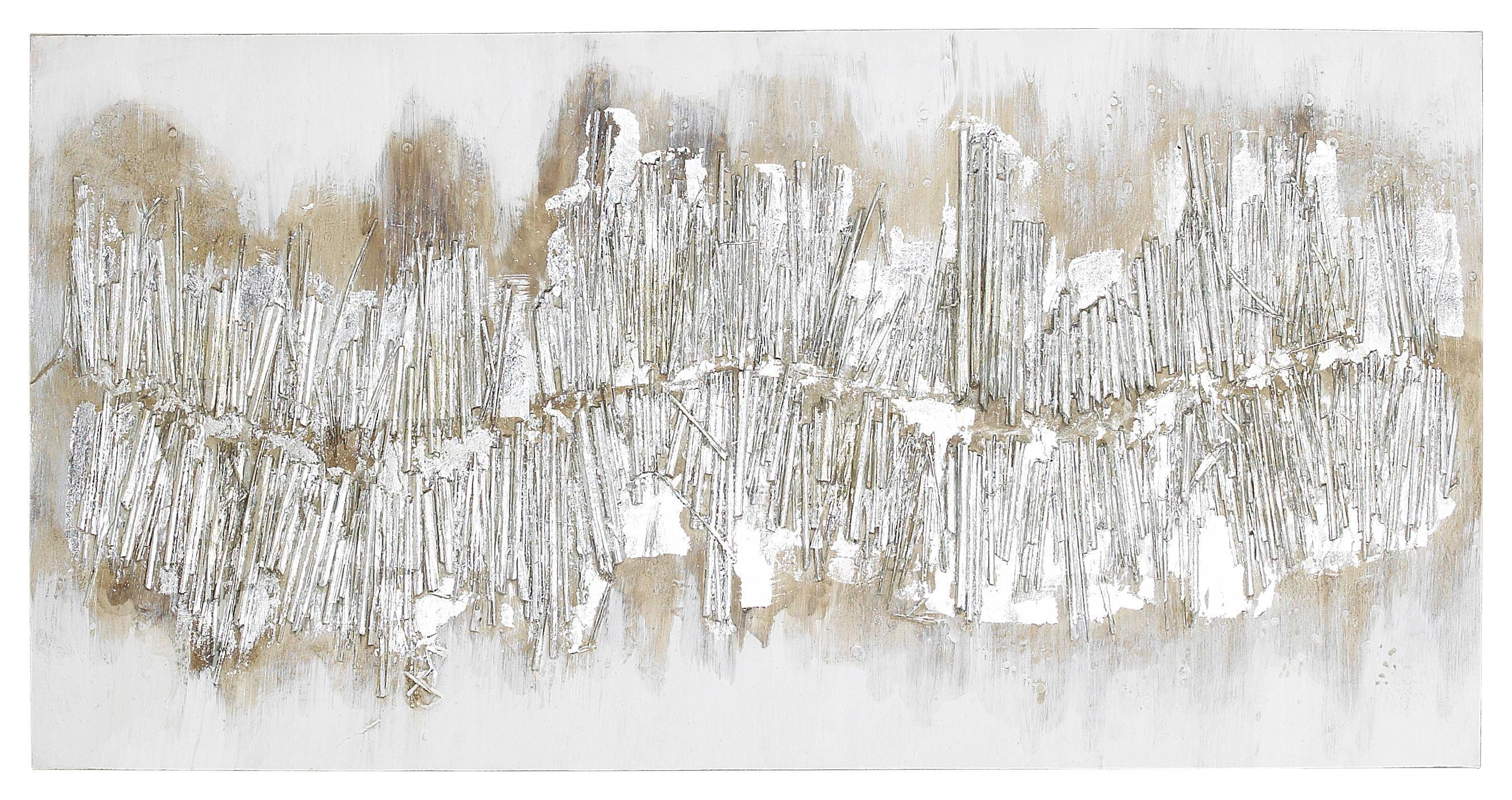 ÖLGEMÄLDE - Silberfarben, Basics, Holz/Textil (60/120cm) - MONEE