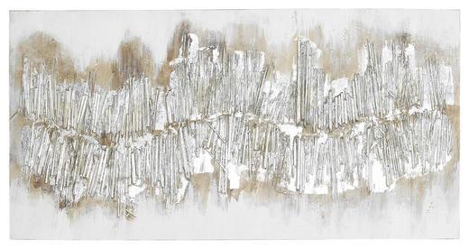 Strukturen ÖLGEMÄLDE - Silberfarben, Design, Holz/Textil (60/120cm) - Monee