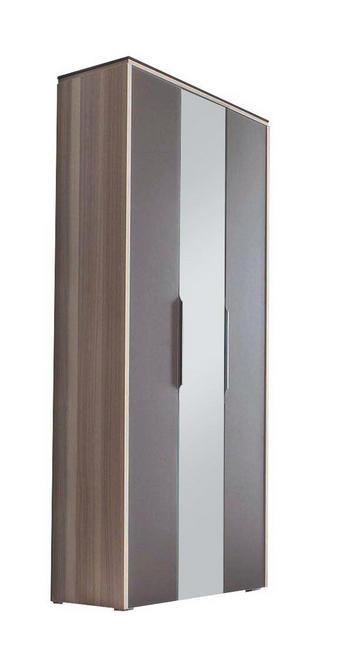 GARDEROBENSCHRANK furniert Braun, Eschefarben - Eschefarben/Silberfarben, Design, Glas/Holzwerkstoff (91/200/36cm) - Cassando