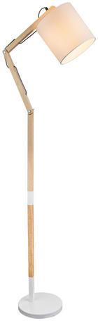 LAMPA STOJACÍ - bílá, Design, kov/dřevo (49,5/157cm) - MARAMA