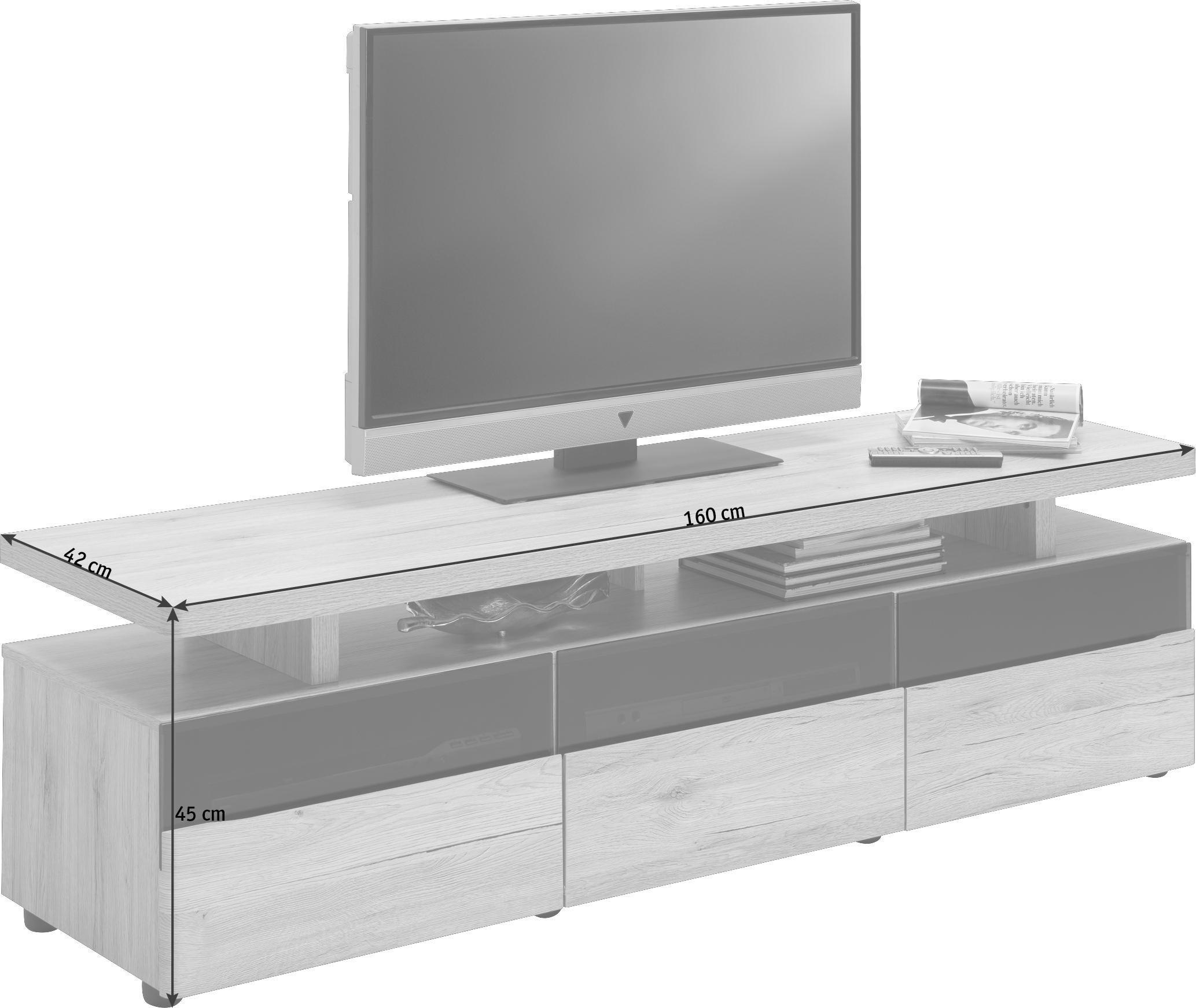 LOWBOARD Eiche Eichefarben, Grau - Eichefarben/Grau, Design, Glas/Kunststoff (160/45/42cm)