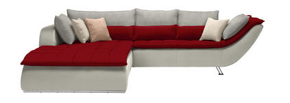 WOHNLANDSCHAFT Hellgrau, Rot, Weiß - Chromfarben/Rot, Design, Textil/Metall (220/300cm) - Hom`in