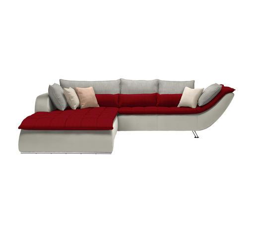 WOHNLANDSCHAFT in Textil Rot, Weiß, Hellgrau - Chromfarben/Rot, Design, Textil/Metall (220/300cm) - Hom`in