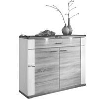 KOMMODE - Chromfarben/Eichefarben, Design, Holzwerkstoff/Kunststoff (129/107/42cm) - Carryhome