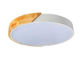 LED-TAKLAMPA - vit/naturfärgad, Trend, metall/träbaserade material (42cm) - Novel