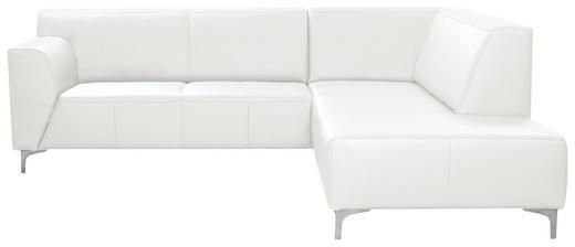 Ecksofa Echtleder - Chromfarben/Weiß, Design, Leder/Metall (242/224cm) - Xora