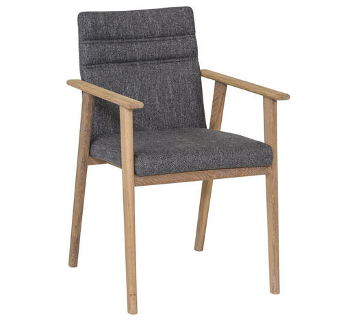 ARMLEHNSTUHL in Grau, Eichefarben - Eichefarben/Grau, KONVENTIONELL, Holz/Textil (56/87/56cm) - Celina Home