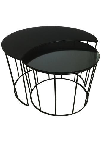 COUCHTISCHSET in Metall, Glas  76/45 cm  - Schwarz/Grau, Design, Glas/Metall (76/45cm) - Carryhome