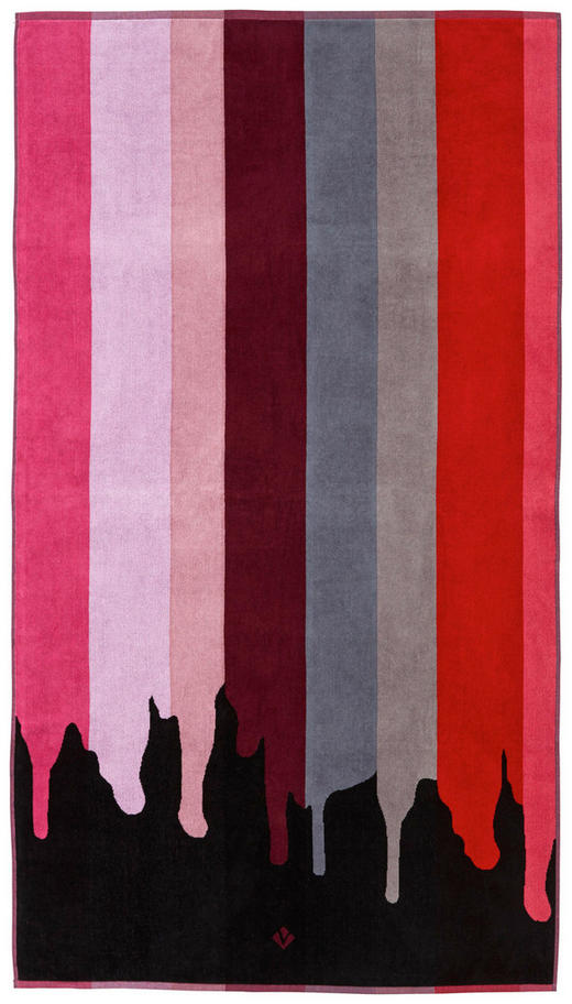 STRANDTUCH 100/180 cm - Rot/Schwarz, Trend, Textil (100/180cm) - Vossen