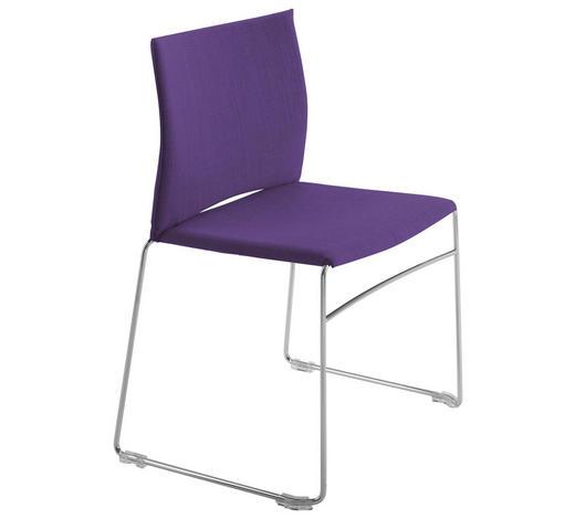STUHL in Metall, Textil Lila, Chromfarben, Violett  - Chromfarben/Lila, Design, Textil/Metall (56,5/82,5/54cm)