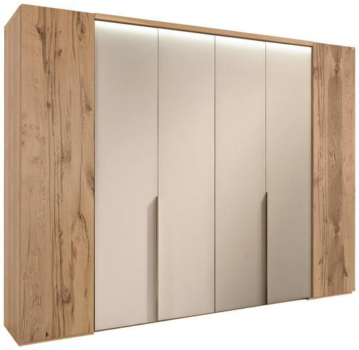 FALTTÜRENSCHRANK in furniert, mehrschichtige Massivholzplatte (Tischlerplatte) Eiche Weiß, Eichefarben - Eichefarben/Alufarben, Natur, Glas/Holz (302/229,9/64,9cm) - Voglauer