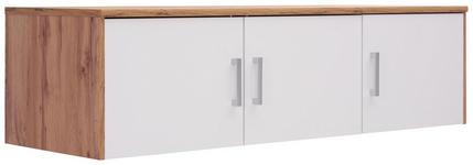AUFSATZSCHRANK - Eichefarben/Silberfarben, KONVENTIONELL, Holzwerkstoff/Kunststoff (157/43/54cm) - Xora