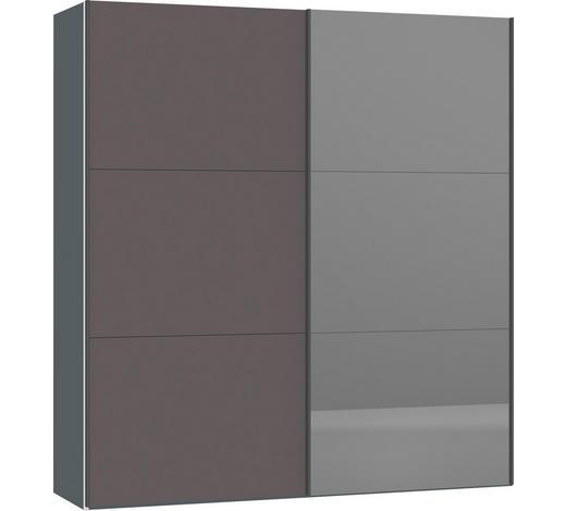 SCHWEBETÜRENSCHRANK in Silberfarben, Dunkelgrau  - Dunkelgrau/Silberfarben, Design, Glas/Holzwerkstoff (202,5/220/65cm) - Jutzler