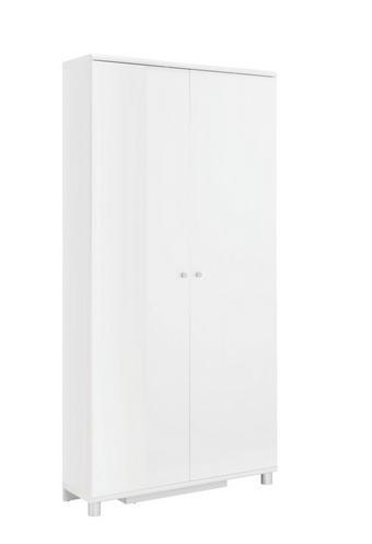 SCHUHSCHRANK - Silberfarben/Weiß, Design, Holzwerkstoff/Metall (90,6/188,5/28,0cm) - XORA