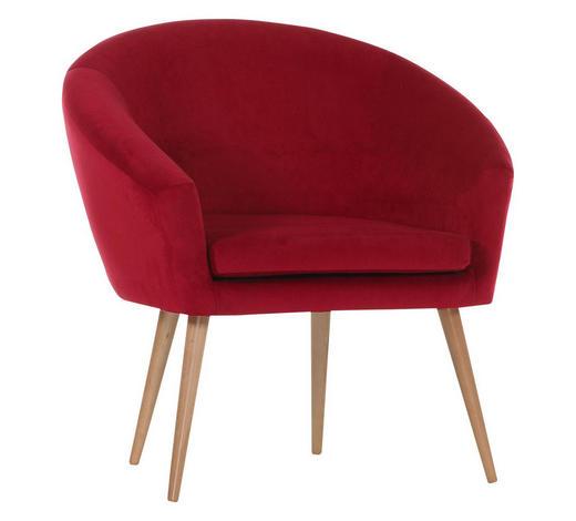 SESSEL Flachgewebe Rot, Buchefarben, Weinrot    - Rot/Buchefarben, Design, Holz/Textil (73/73/66cm) - Carryhome