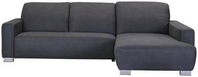 WOHNLANDSCHAFT Grau Mikrofaser - Chromfarben/Beige, Design, Holz/Textil (296/198cm) - Hom`in