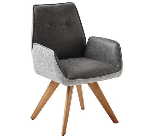 ARMLEHNSTUHL in Grau - Eichefarben/Grau, Design, Holz/Textil (65/89/60cm) - Venda