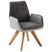 NASLANJAČ, les, tekstil siva  - siva/hrast, Design, tekstil/les (65/89/60cm) - Venda