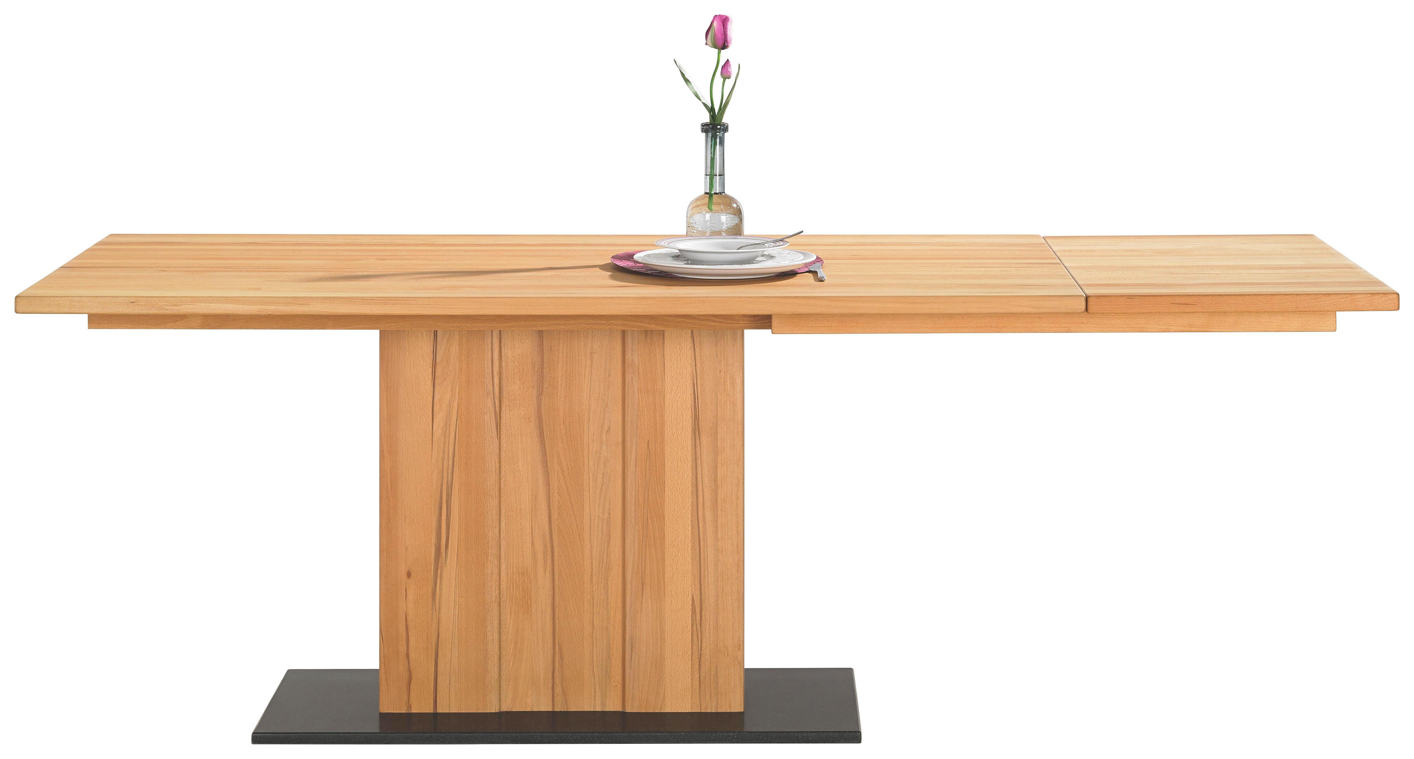 ESSTISCH Asteiche massiv Buchefarben, Schwarz - Buchefarben/Schwarz, Design, Holz/Stein (170/95/76cm) - CASSANDO