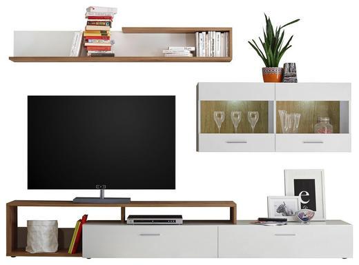DNEVNI REGAL,  bela, hrast - črna/bela, Moderno, umetna masa/steklo (265/192/42cm) - Ti`me
