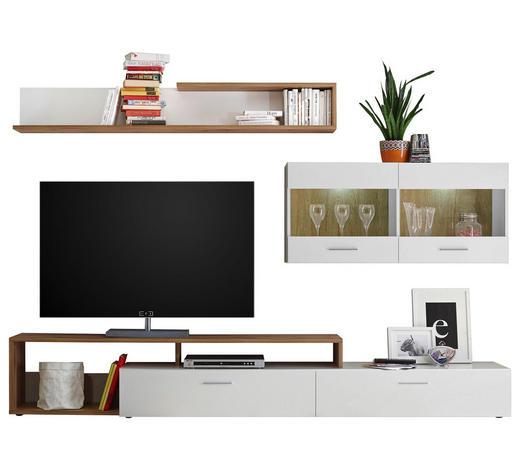 WOHNWAND Weiß, Eichefarben  - Eichefarben/Silberfarben, MODERN, Glas/Kunststoff (265/192/42cm) - Ti`me