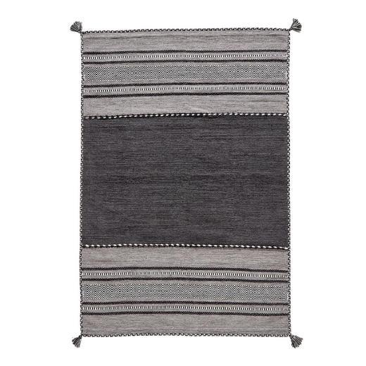 FLACHWEBETEPPICH  70/140 cm  Grau, Schwarz, Weiß - Schwarz/Weiß, LIFESTYLE, Textil (70/140cm)