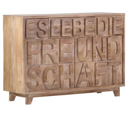 KOMMODE Mangoholz massiv Naturfarben - Naturfarben, Trend, Holz (120/86/40cm) - Carryhome