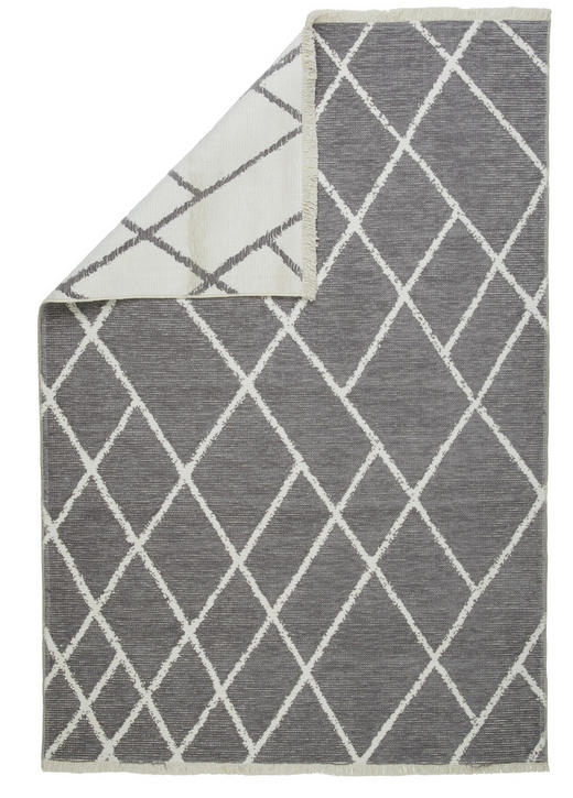 FLACHWEBETEPPICH  80/150 cm  Grau, Weiß - Weiß/Grau, Design, Textil (80/150cm) - Novel