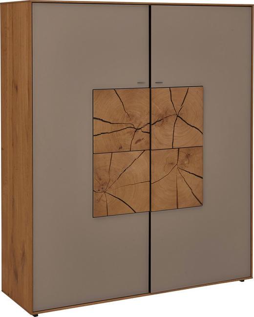 HIGHBOARD Kerneiche vollmassiv matt, lackiert, gebürstet, gewachst Eichefarben, Fango - Fango/Eichefarben, Design, Glas/Holz (117/138/39cm) - Valnatura