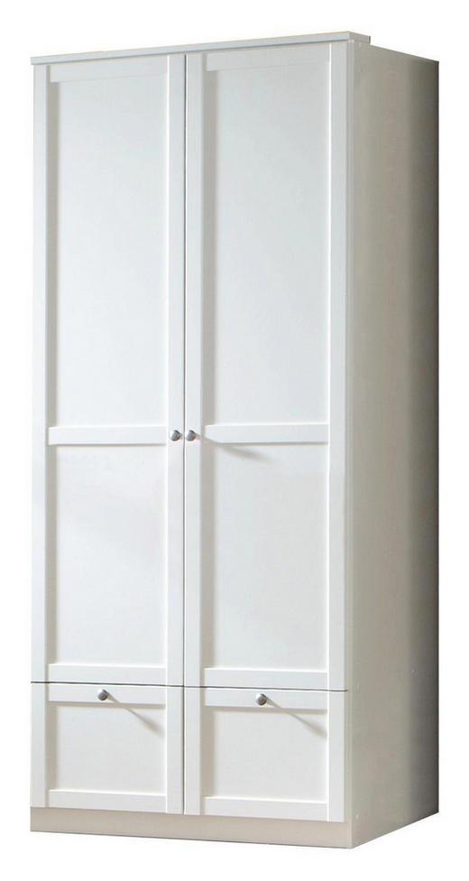 DREHTÜRENSCHRANK Weiß - Zinkfarben/Weiß, LIFESTYLE, Holzwerkstoff/Metall (90/200/58cm) - Carryhome