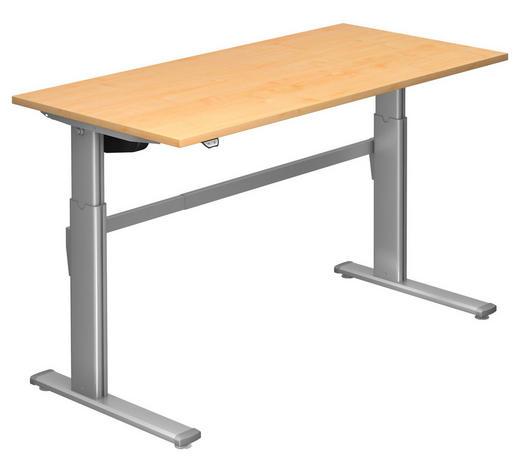 SCHREIBTISCH - Silberfarben/Ahornfarben, Design, Holzwerkstoff/Metall (160/72-119/80cm)