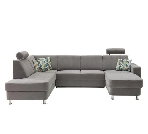 WOHNLANDSCHAFT in Textil Grau  - Chromfarben/Multicolor, Design, Kunststoff/Textil (198/301/165cm) - Xora