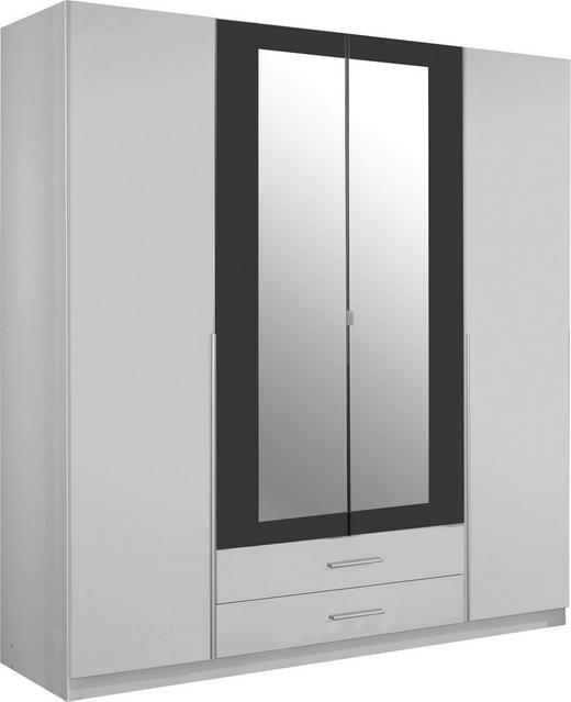 DREHTÜRENSCHRANK 4-türig Graphitfarben, Weiß - Graphitfarben/Alufarben, Design, Holzwerkstoff/Kunststoff (180/197/58cm) - Carryhome