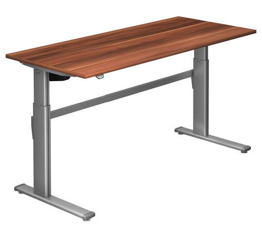 SCHREIBTISCH - Silberfarben/Zwetschgefarben, Design, Holzwerkstoff/Metall (180/72-119/80cm)