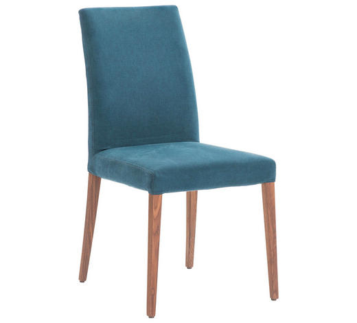 STUHL in Holz, Textil Blau, Nussbaumfarben - Blau/Nussbaumfarben, Design, Holz/Textil (49/96/65cm)