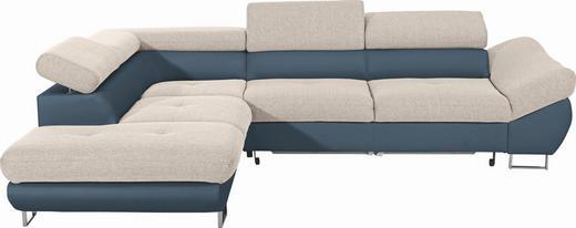 WOHNLANDSCHAFT Webstoff Bettkasten, Schlaffunktion - Chromfarben/Beige, Design, Textil/Metall (235/280cm) - Carryhome