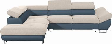 WOHNLANDSCHAFT in Textil Beige, Petrol - Chromfarben/Beige, Design, Textil/Metall (235/280cm) - Hom`in