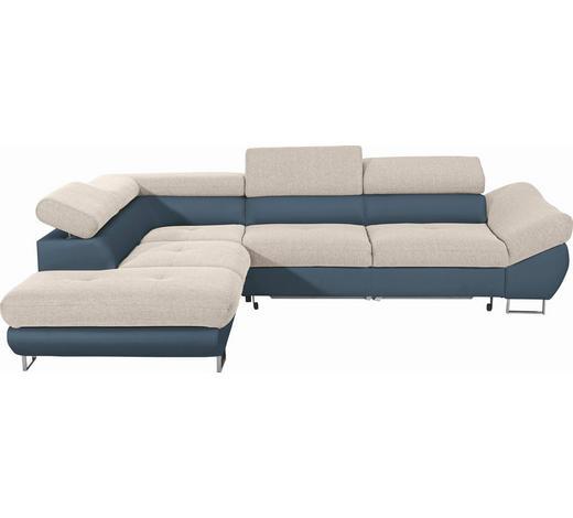 WOHNLANDSCHAFT in Textil Petrol, Beige  - Chromfarben/Beige, Design, Textil/Metall (235/280cm) - Hom`in