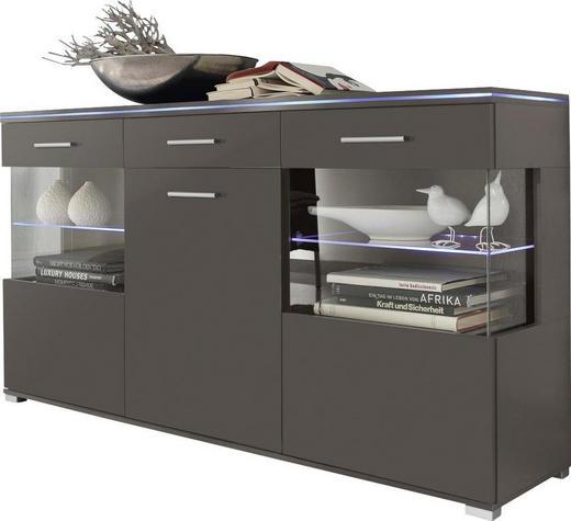 SIDEBOARD Hochglanz, melaminharzbeschichtet Grau - Silberfarben/Grau, Design, Glas/Holz (150/84/38cm) - Carryhome