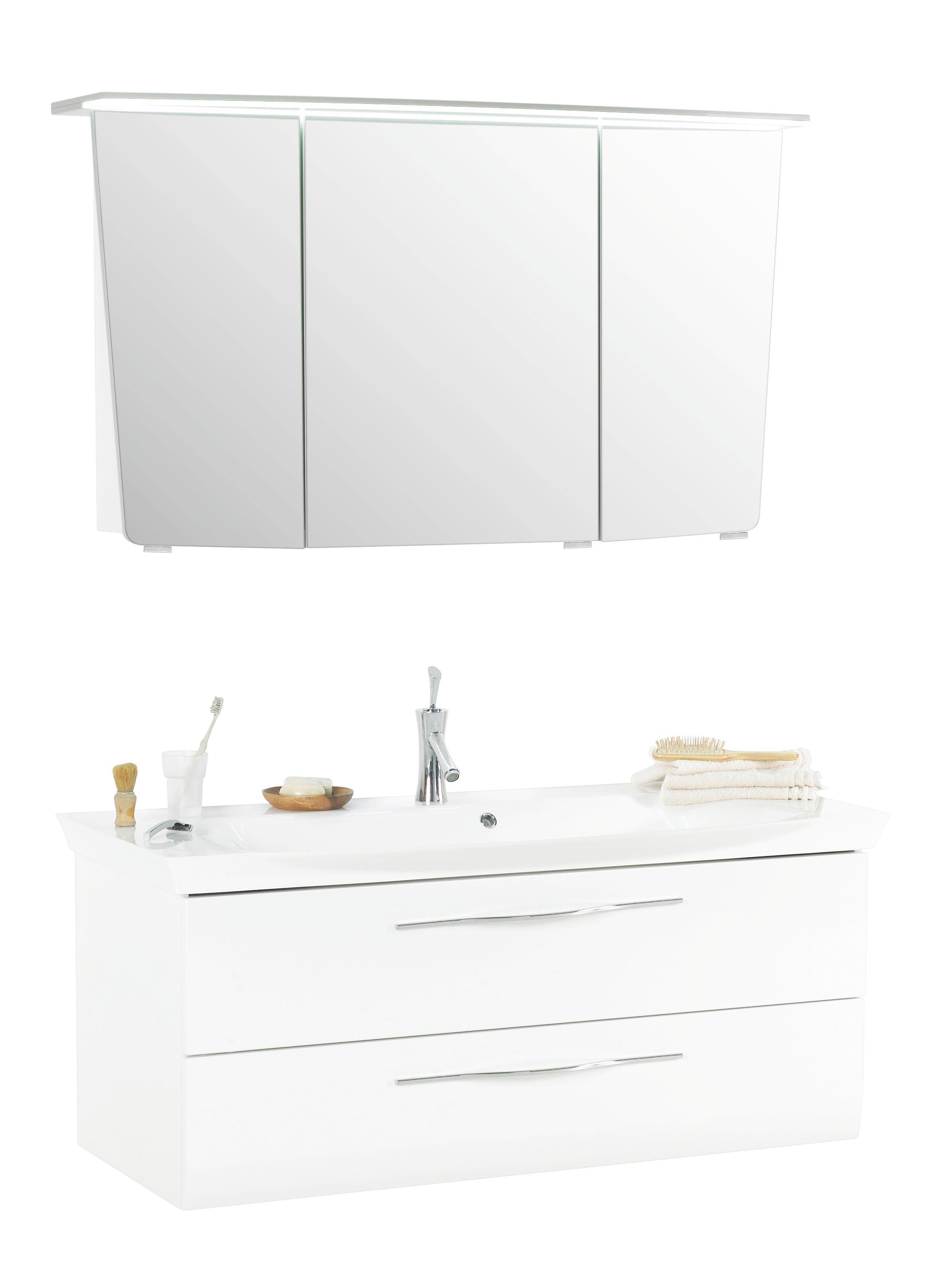 BADEZIMMER - Weiß, Design, Glas/Holzwerkstoff (130cm) - SADENA