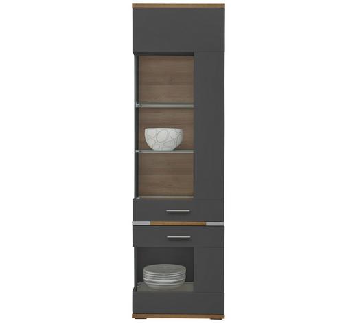 VITRINE Graphitfarben, Eichefarben  - Eichefarben/Silberfarben, Design, Glas/Holzwerkstoff (60,1/206,1/38cm) - Hom`in