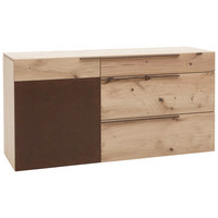 Sideboard in furniert, mehrschichtige Massivholzplatte (Tischlerplatte) Wildeiche Braun, Eichefarben - Eichefarben/Braun, Natur, Holz/Metall (160/82/51cm) - Voglauer