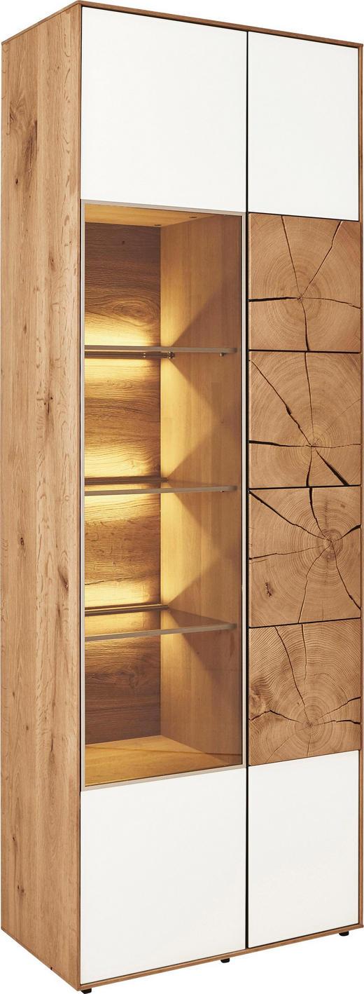 VITRINE Kerneiche vollmassiv Eichefarben, Weiß - Eichefarben/Weiß, Design, Glas/Holz (69,5/196/39cm) - Valnatura