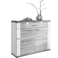 KOMMODE in Eichefarben, Weiß - Chromfarben/Eichefarben, Design, Holzwerkstoff/Kunststoff (129/107/42cm) - CARRYHOME