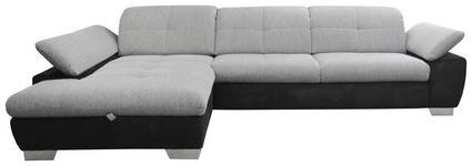 WOHNLANDSCHAFT in Textil Grau, Schwarz - Chromfarben/Schwarz, Design, Textil/Metall (204/297cm) - Xora